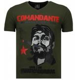 Local Fanatic Che Guevara Comandante - Rhinestone T-shirt - Groen