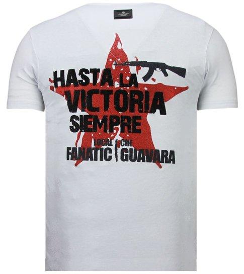 Local Fanatic Che Guevara Comandante - Rhinestone T-shirt - Wit