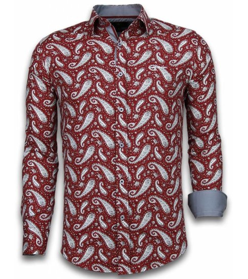 TONY BACKER Italiaanse Overhemden - Slim Fit Overhemd - Blouse Flower Pattern - Bordeaux