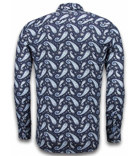 TONY BACKER Italiaanse Overhemden - Slim Fit Overhemd - Blouse Flower Pattern - Blauw