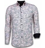 TONY BACKER Italiaanse Overhemden - Slim Fit Overhemd - Blouse Baroque Pattern - Roze