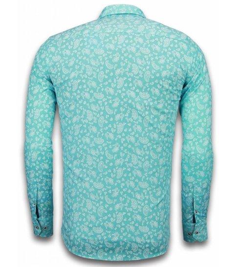 TONY BACKER Italiaanse Overhemden - Slim Fit Overhemd - Blouse Leaves Pattern - Turqoise