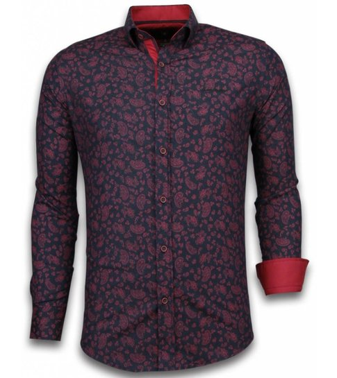TONY BACKER Italiaanse Overhemden - Slim Fit Overhemd - Blouse Leaves Pattern - Zwart