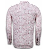 TONY BACKER Italiaanse Overhemden - Slim Fit Overhemd - Blouse Allover Flower Pattern - Rood