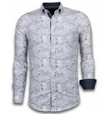 TONY BACKER Italiaanse Overhemden - Slim Fit Overhemd - Blouse Allover Flower Pattern - Blauw