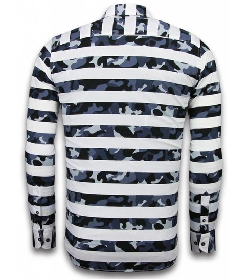 TONY BACKER Italiaanse Overhemden - Slim Fit Overhemd - Blouse Big Stripe Camouflage Pattern - Wit