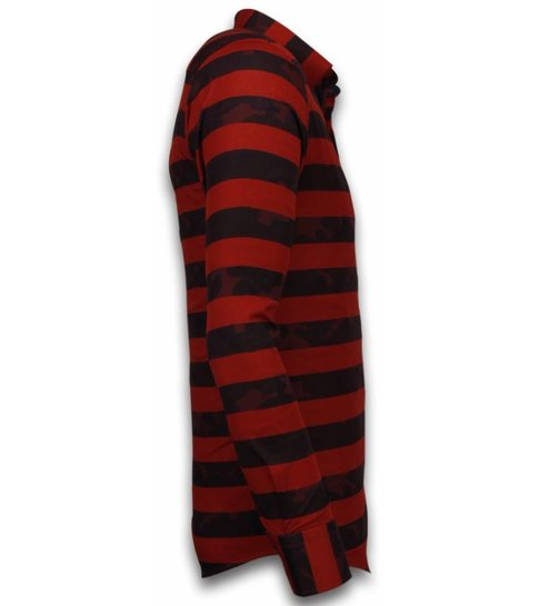TONY BACKER Italiaanse Overhemden - Slim Fit Overhemd - Blouse Big Stripe Camouflage Pattern - Rood