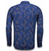 TONY BACKER Italiaanse Overhemden - Slim Fit Overhemd - Blouse Dotted Camouflage Pattern - Blauw