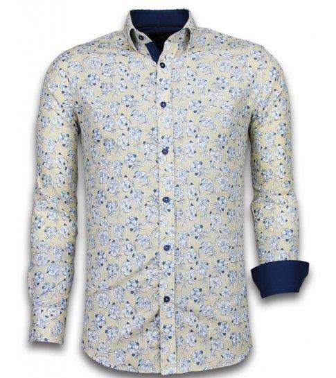TONY BACKER Italiaanse Overhemden - Slim Fit Overhemd - Blouse Drawn Flower Pattern - Beige