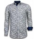 TONY BACKER Italiaanse Overhemden - Slim Fit Overhemd - Blouse Drawn Flower Pattern - Blauw