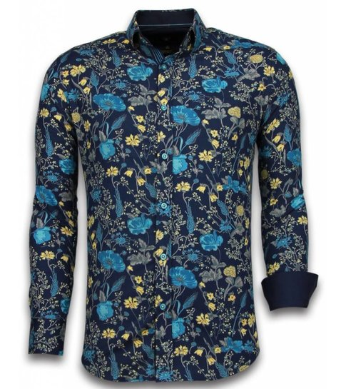 TONY BACKER Italiaanse Overhemden - Slim Fit Overhemd - Blouse Coloured Flower Pattern - Blauw