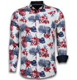 TONY BACKER Italiaanse Overhemden - Slim Fit Overhemd - Blouse Big Flower Pattern - Wit