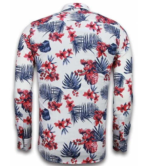 Gentile Bellini Italiaanse Overhemden - Slim Fit Overhemd - Blouse Big Flower Pattern - Wit