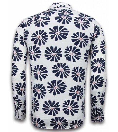 TONY BACKER Italiaanse Overhemden - Slim Fit Overhemd - Blouse Big Leave Pattern - Wit