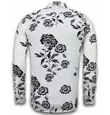 TONY BACKER Italiaanse Overhemden - Slim Fit Overhemd - Blouse Flower Pattern - Wit