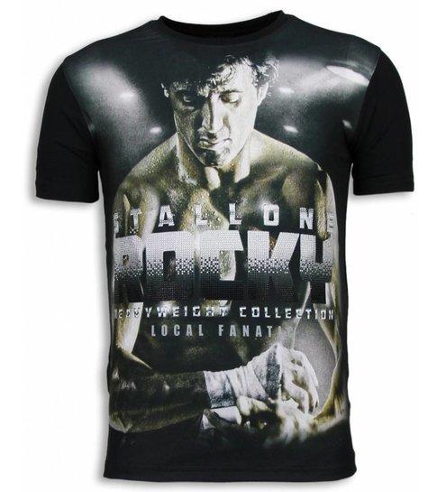 Local Fanatic Rocky Heavyweight - Digital Rhinestone T-shirt - Zwart