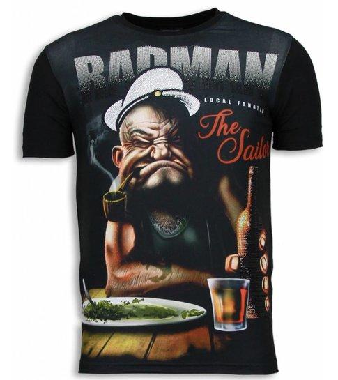Local Fanatic Popeye Badman - Digital Rhinestone T-shirt - Zwart