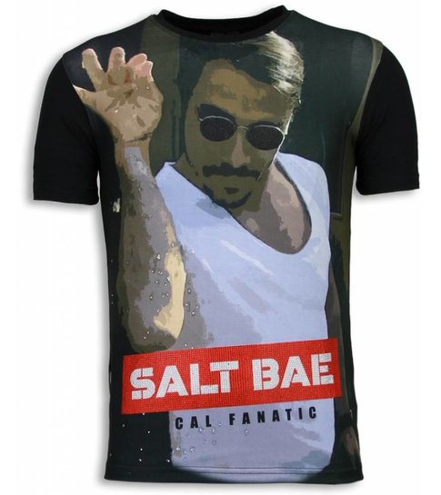 Local Fanatic Salt Bae - Digital Rhinestone T-shirt - Zwart