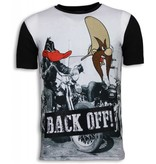 Local Fanatic Back Off - Digital Rhinestone T-shirt - Zwart
