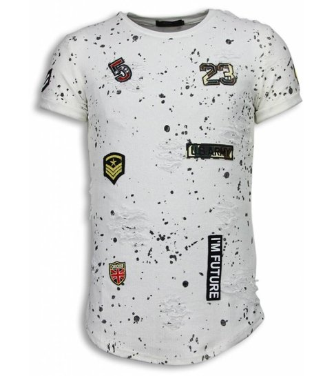 JUSTING Paint Drops Army Shirt - Long Fit T-shirt Black Dotted - Wit
