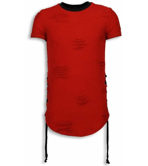 JUSTING Destroyed Look T-Shirt - Ribbon Long Fit Sweater - Rood