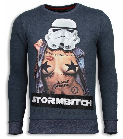 Local Fanatic Stormbitch - Rhinestone Sweater - Blauw