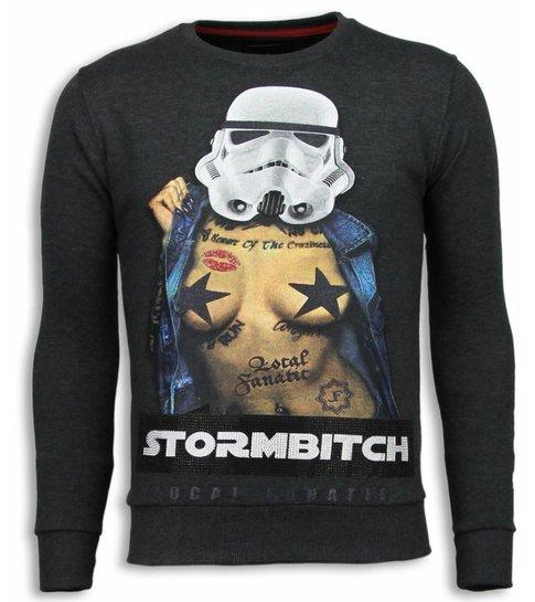 Local Fanatic Stormbitch - Rhinestone Sweater - Antraciet