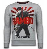 Local Fanatic Rambo - Rhinestone Sweater - Licht Grijs