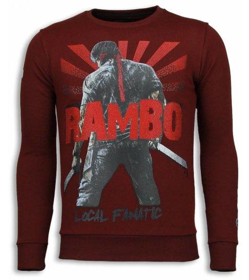 Local Fanatic Rambo - Rhinestone Sweater - Bordeaux