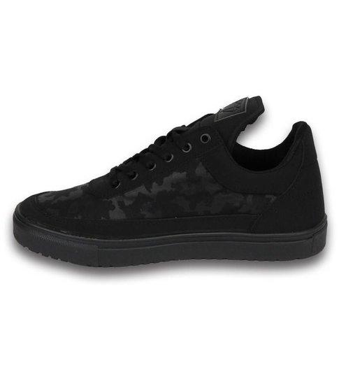 Cash Money Heren Schoenen - Heren Sneaker Low Camouflage Side - Case Army  Full Black -  Zwart