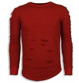 JUSTING 3D Stamp PARIS Trui - Damaged Sweater - Rood