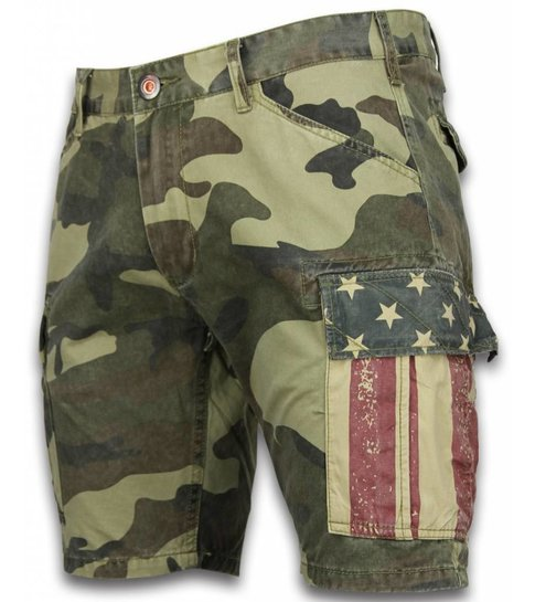 BB  Bread & Buttons Korte Broeken Heren - Slim Fit Camouflage Shorts - Licht Groen