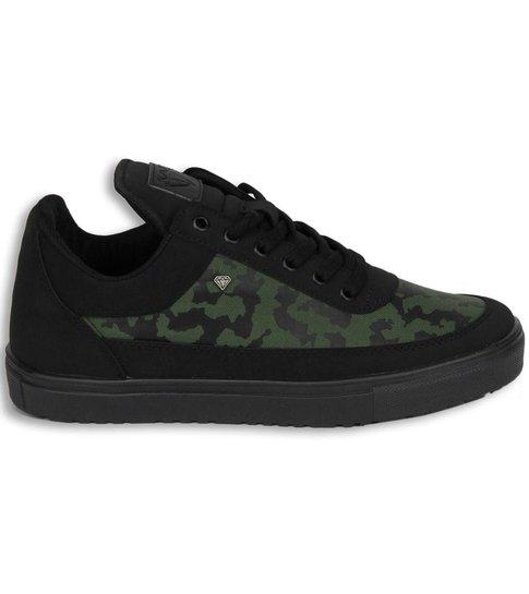 Cash Money Heren Schoenen - Heren Sneaker Low Camouflage Side - Groen Zwart