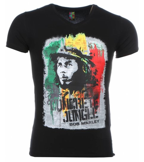 Local Fanatic T-shirt - Bob Marley Concrete Jungle Print - Zwart