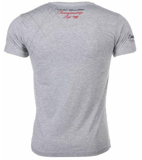 David Copper Italiaanse T-shirt - Korte Mouwen Heren - Borduur Squadra Azzura - Grijs
