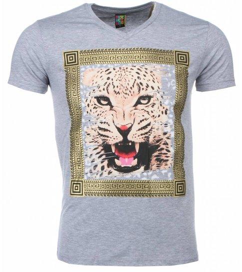 Mascherano T-shirt - Tijger Print - Grijs