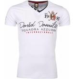 David Copper Italiaanse T-shirt - Korte Mouwen Heren - Borduur Squadra Azzura - Wit