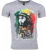 Local Fanatic T-shirt - Bob Marley Concrete Jungle Print - Grijs
