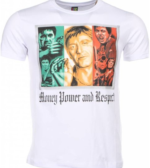 Local Fanatic T-shirt - Scarface Money Power Respect Print - Wit