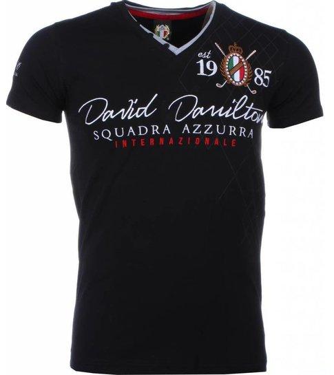 David Copper Italiaanse T-shirt - Korte Mouwen Heren - Borduur Squadra Azzura - Zwart