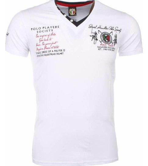 David Copper Italiaanse T-shirt - Korte Mouwen Heren - Borduur Polo Players - Wit