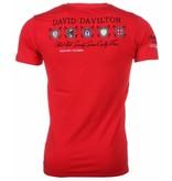 David Copper Italiaanse T-shirt - Korte Mouwen Heren - Borduur Polo Players - Rood