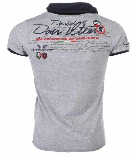 David Copper Italiaanse T-shirt - Korte Mouwen Sjaalkraag Heren - Royal Club - Grijs