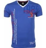 David Copper Italiaanse T-shirt - Korte Mouwen Heren - Borduur Polo Club - Blauw