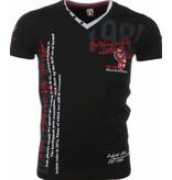 David Copper Italiaanse T-shirt - Korte Mouwen Heren - Borduur Polo Club - Zwart