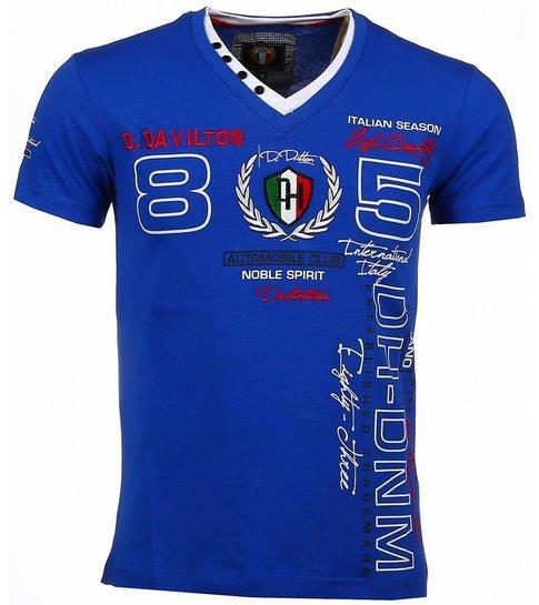 David Copper Italiaanse T-shirt - Korte Mouwen Heren - Borduur Automobile Club - Blauw