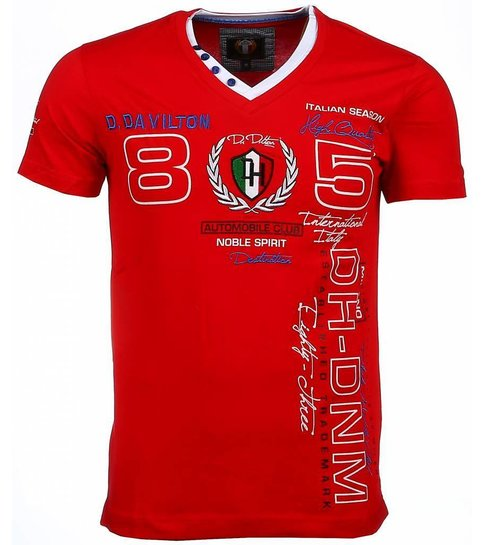 David Copper Italiaanse T-shirt - Korte Mouwen Heren - Borduur Automobile Club - Rood