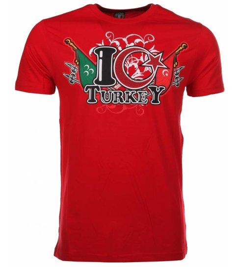 Local Fanatic T-shirt I Love Turkey - Rood