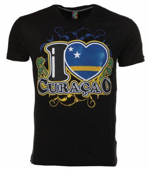 Local Fanatic T-shirt I Love Curacao - Zwart