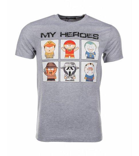 Local Fanatic T-shirt My Heroes - Grijs